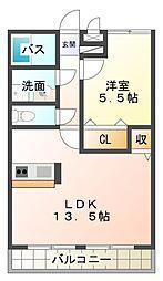 愛知県岡崎市下和田町字神宮司の賃貸アパートの間取り