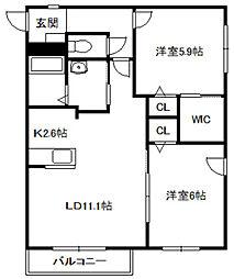 北海道札幌市中央区北五条西12丁目の賃貸マンションの間取り