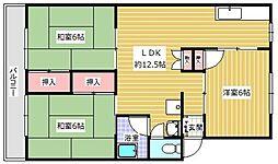高倉ハイツ 4階3LDKの間取り