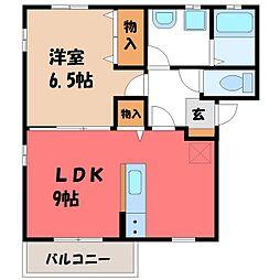 栃木県宇都宮市白沢町の賃貸アパートの間取り