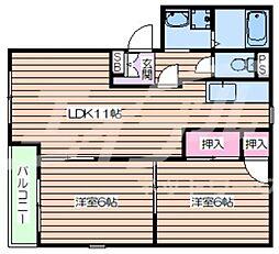 ドミール都島A棟 2階2LDKの間取り
