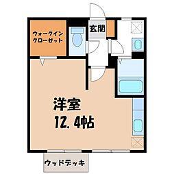 栃木県宇都宮市越戸1丁目の賃貸アパートの間取り