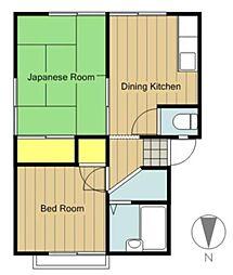 神奈川県相模原市緑区橋本8の賃貸アパートの間取り