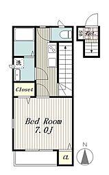 京王線 高幡不動駅 徒歩5分の賃貸アパート 2階1Kの間取り