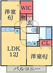 千葉県千葉市中央区赤井町の賃貸アパートの間取り