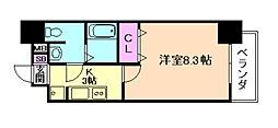 JR東西線 大阪城北詰駅 徒歩3分の賃貸マンション 6階1Kの間取り