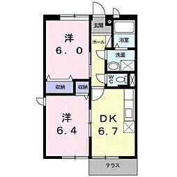 愛知県豊川市赤代町3丁目の賃貸アパートの間取り