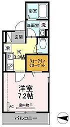 JR横須賀線 新川崎駅 徒歩16分の賃貸アパート 1階1Kの間取り