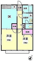 シティハイム浜五 1階2DKの間取り