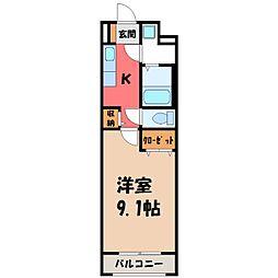 東武宇都宮線 東武宇都宮駅 徒歩15分の賃貸マンション 2階1Kの間取り