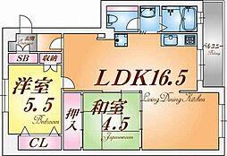 兵庫県神戸市兵庫区浜山通2丁目の賃貸マンションの間取り