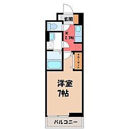 栃木県宇都宮市今宮4丁目の賃貸アパートの間取り