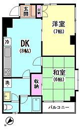 ドミール鹿島[3-A号室]の間取り