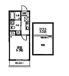 横浜市営地下鉄グリーンライン 日吉本町駅 徒歩9分の賃貸アパート 2階1Kの間取り