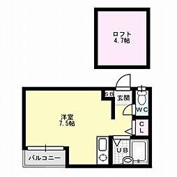 福岡県福岡市博多区博多駅南1丁目の賃貸アパートの間取り