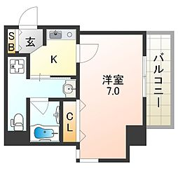 JR関西本線 東部市場前駅 徒歩8分の賃貸マンション 6階1Kの間取り
