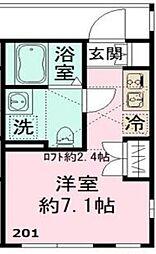 小田急小田原線 祖師ヶ谷大蔵駅 徒歩3分の賃貸アパート 2階ワンルームの間取り