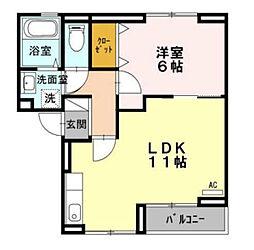 神奈川県川崎市多摩区枡形6丁目の賃貸アパートの間取り
