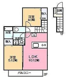 神奈川県川崎市多摩区菅仙谷2丁目の賃貸アパートの間取り