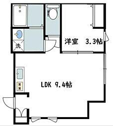 カバリーノ小田原 1階1LDKの間取り