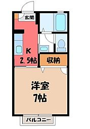 栃木県小山市城東3丁目の賃貸アパートの間取り