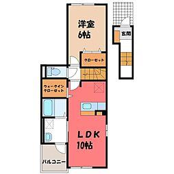 雀の宮2丁目アパート(025558901) 2階1LDKの間取り