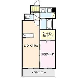 福岡県久留米市瀬下町の賃貸マンションの間取り