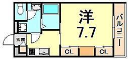 JR東海道・山陽本線 西宮駅 徒歩7分の賃貸アパート 1階1Kの間取り
