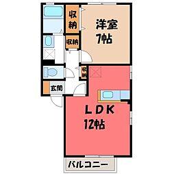 栃木県宇都宮市細谷1の賃貸アパートの間取り