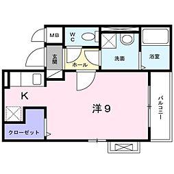 JR関西本線 平野駅 徒歩10分の賃貸アパート 1階ワンルームの間取り
