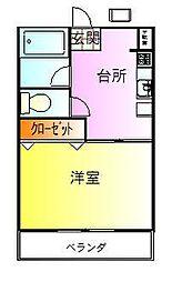 第二田辺コーポ[1階]の間取り
