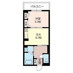サンセイ・マンション IV 4階1DKの間取り