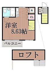 東京都大田区山王3丁目の賃貸アパートの間取り