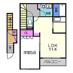 南海高野線 萩原天神駅 徒歩13分の賃貸アパート 2階1LDKの間取り