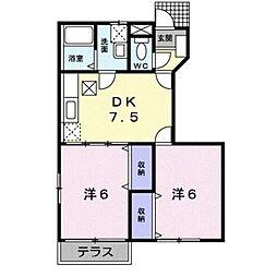 岡山県総社市中央6の賃貸アパートの間取り