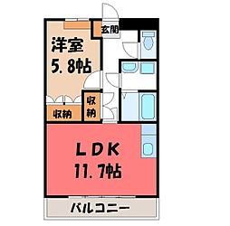 栃木県真岡市高勢町2丁目の賃貸アパートの間取り