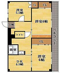 ビレッジハウス川瀬4号棟[5階]の間取り