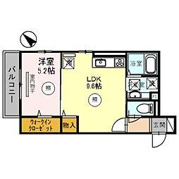 南海線 泉大津駅 徒歩5分の賃貸アパート 2階1LDKの間取り