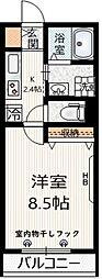 京王井の頭線 三鷹台駅 徒歩7分の賃貸マンション 2階1Kの間取り