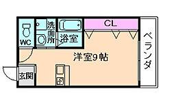 Osaka Metro谷町線 天神橋筋六丁目駅 徒歩1分の賃貸マンション 3階ワンルームの間取り