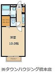 JR横浜線 相原駅 徒歩11分の賃貸アパート 2階1Kの間取り