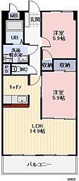 愛知県小牧市外堀2丁目の賃貸マンションの間取り