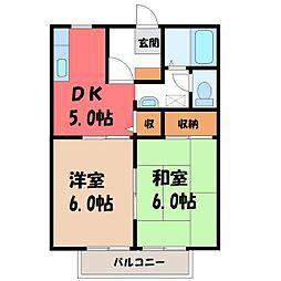 栃木県塩谷郡高根沢町宝石台4丁目の賃貸アパートの間取り