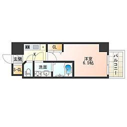 阪神なんば線 九条駅 徒歩2分の賃貸マンション 11階1Kの間取り
