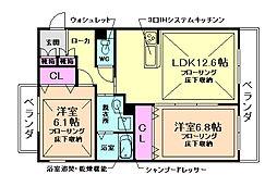 大阪府豊中市桜の町4丁目の賃貸マンションの間取り