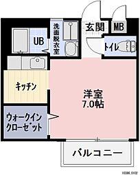 愛知県岡崎市福岡町字荒巻の賃貸アパートの間取り