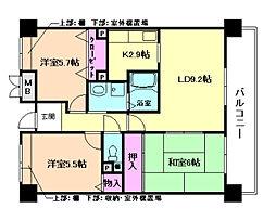 阪急宝塚本線 三国駅 徒歩10分の賃貸マンション 8階3LDKの間取り