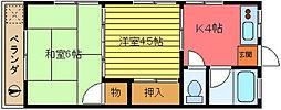 加藤ハイツ1号棟[2階]の間取り