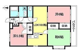 西武国分寺線 恋ヶ窪駅 徒歩4分の賃貸マンション 5階3LDKの間取り