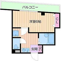 阪急千里線 関大前駅 徒歩4分の賃貸マンション 1階1Kの間取り
